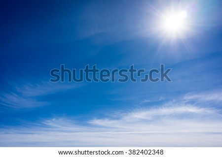 Very bright sun from three thousand meter above the sea level - stock photo