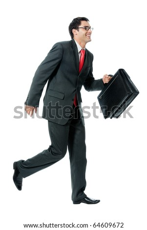 Very busy businessman with briefcase running to important meeting, isolated on white background - stock photo