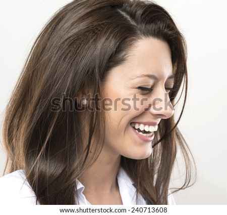 very close up of smiling girl. head shot. - stock photo