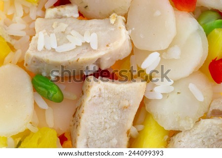 Very Close View Of Pineapple Chicken With Water Chestnuts