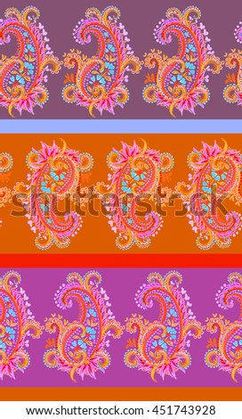 very colorful neon pink and orange paisleys, seamless paisleys pattern,beautiful horizontal ornate lace design. hand drawn artistic watercolor paisleys. - stock photo
