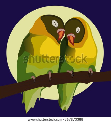 Very colorful parrots on a limb and the moon as background. Valentine reference and romantically posed.