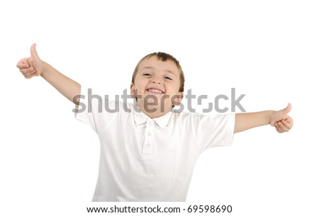 Very cute positive smiling little boy, isolated. Thumbs up, happy succesful winner. - stock photo