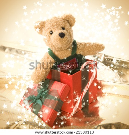 Very cute teddy bear in a gift box - stock photo