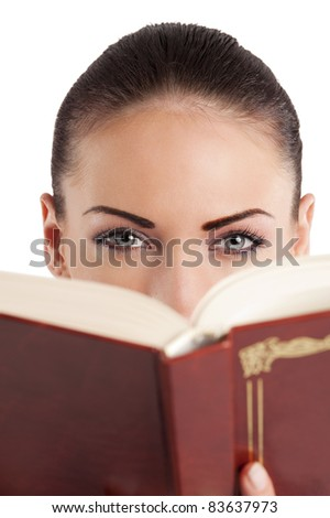 very cute young college student in casual dress with book