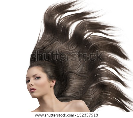 very cute young girl with dark hair and creative hairstyle like a horse - stock photo