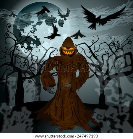 Very detailed, dark, hand drawn style, Halloween illustration with Jack O'Lantern, full Moon and crows - stock photo