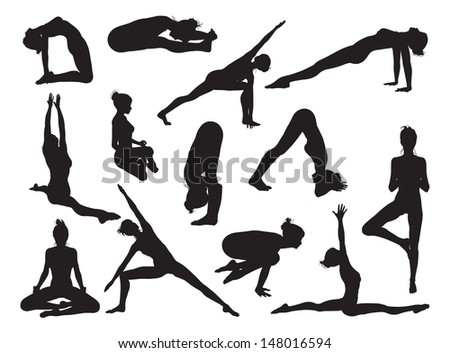 Very detailed detailed high quality yoga woman silhouettes - stock photo
