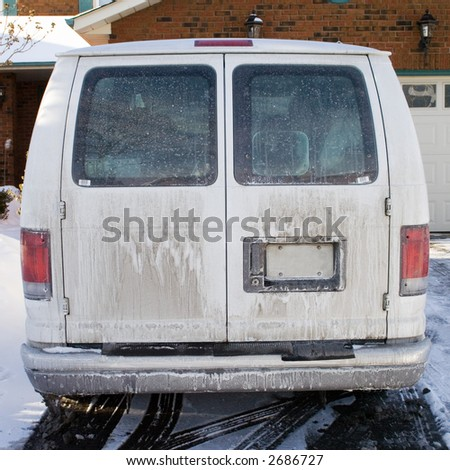 Very dirty work van in the winter