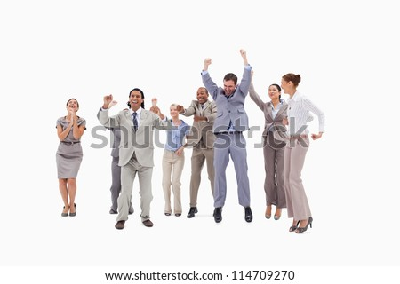 Very enthusiast people jumping and raising their arms against white background - stock photo