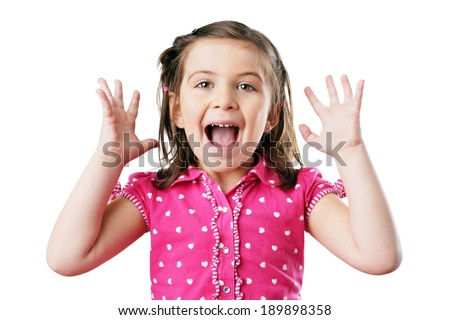 Very excited and screaming little girl in pink, over white - stock photo