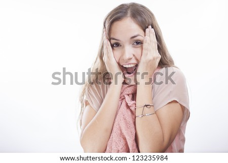 Very excited latin woman - stock photo