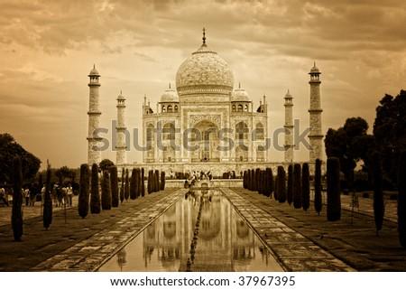 very famous indian monument taj mahal background - stock photo