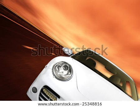 Very fast and beautiful car on the road ! - stock photo