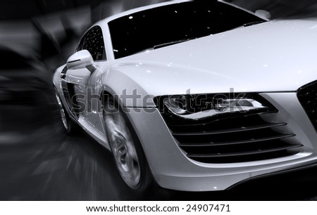 Very fast car moving with motion blur - stock photo