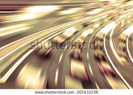 very fast cars in future on highway - stock photo