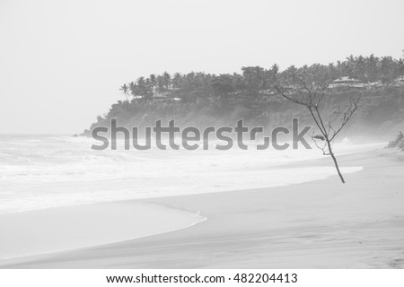 very foggy landscape of varkala beach as black and white picture
