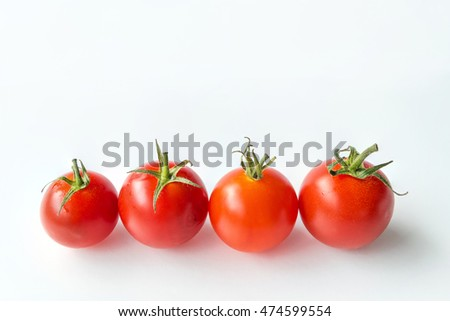 Very fresh tomatoes on white background, for healthy food collection, organic vegetables