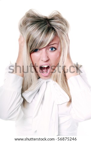 Very frustrated and angry mad woman hands in her hair pulling. Isolated on white background - stock photo