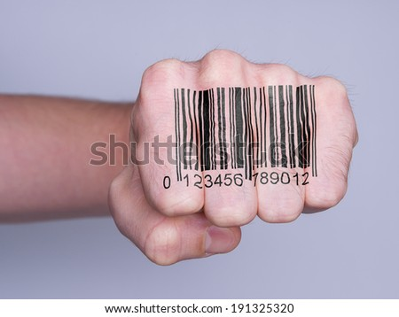 Very hairy knuckles from the fist of a man punching - stock photo