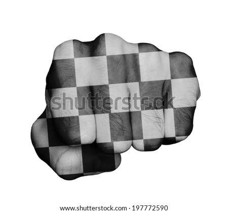 Very hairy knuckles from the fist of a man punching, finish flag - stock photo