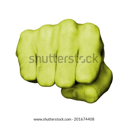 Very hairy knuckles from the fist of a man punching, yellow skin - stock photo
