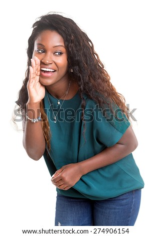 Very happy african woman screaming at someone, isolated over a white background - stock photo