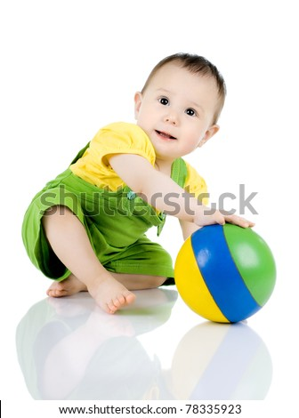 very happy, beautiful,  joy, little kid , play with ball on white background - stock photo