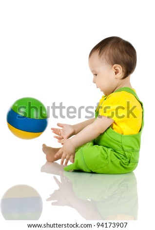 very happy, beautiful,  joy, little kid , play with ball on white background, isolated - stock photo