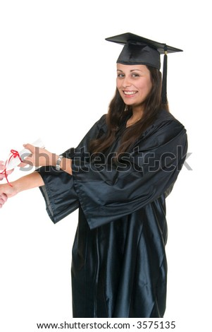 Very Happy beautiful young woman standing in graduation robes, cap and gown receiving her diploma or degree.