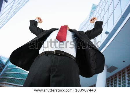 Very happy business man - stock photo