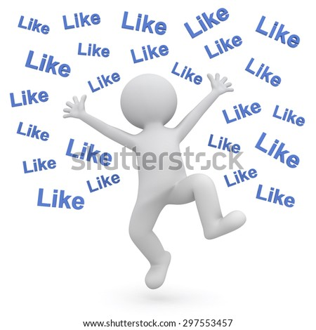 Very happy 3d man celebrating and jumping over white background with many like text words