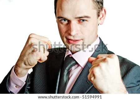 Very happy energetic businessman (isolated)