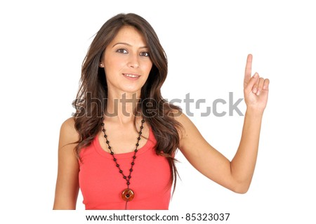 Very happy excited beautiful woman looking at your product with great joy. Isolated on white background. - stock photo