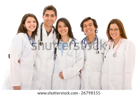 Very happy group of doctors isolated over a white