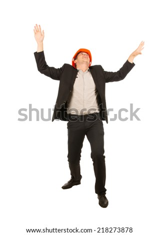 Very Happy Young Male Engineer Wearing Black Coat and Pants Isolated on White Background - stock photo