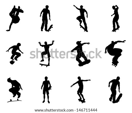 Very high quality and highly detailed skating skateboarder silhouette outlines. Skateboarders performing lots of tricks on their boards. - stock photo
