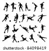 Very high quality detailed soccer football player silhouette outlines. - stock vector