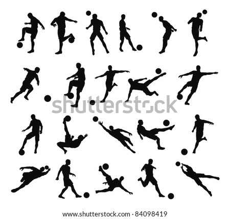 Very high quality detailed soccer football player silhouette outlines. - stock photo