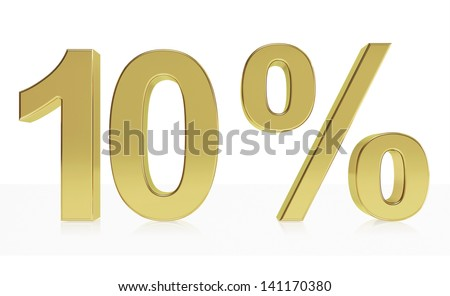 Very high quality rendering of a symbol for 10 % discount or gain with a subtle reflection.(series) - stock photo