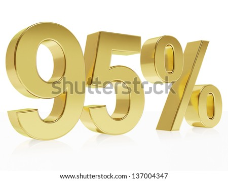 Very high quality rendering of a symbol for 95 % discount with a subtle reflection
