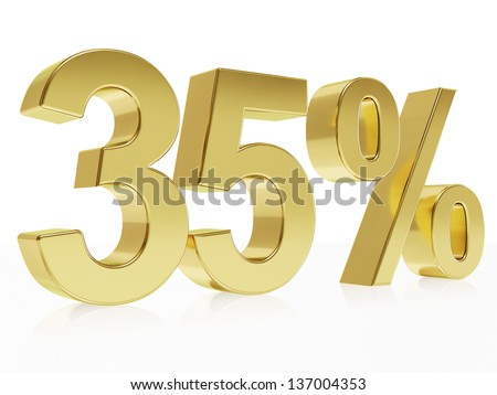 Very high quality rendering of a symbol for 35 % discount with a subtle reflection