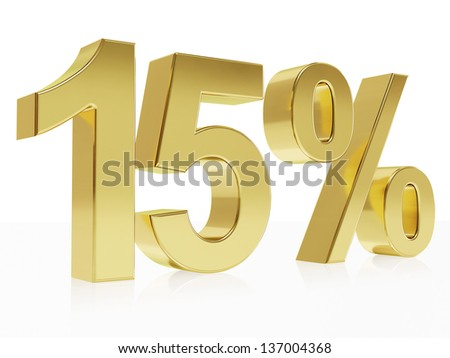 Very high quality rendering of a symbol for 15 % discount with a subtle reflection
