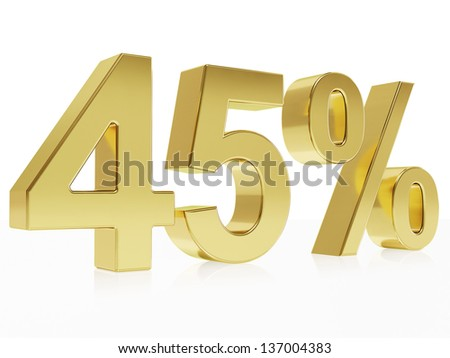 Very high quality rendering of a symbol for 45 % discount with a subtle reflection