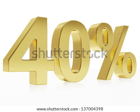 Very high quality rendering of a symbol for 40 % discount with a subtle reflection