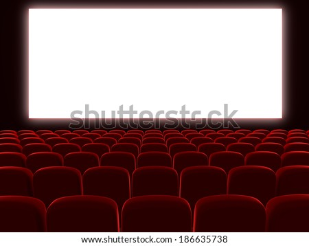 Very high resolution 3d rendering of an empty cinema auditorium - stock photo