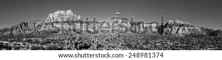 Very high resolution panorama of Red Rock Canyon Conservation Area, Nevada. - stock photo