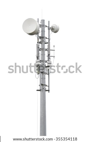 Very high telecommunication tower isolated on white - stock photo