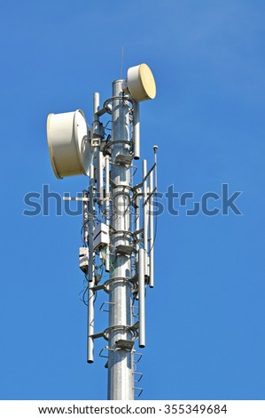 very high Telecommunication tower with blue sky