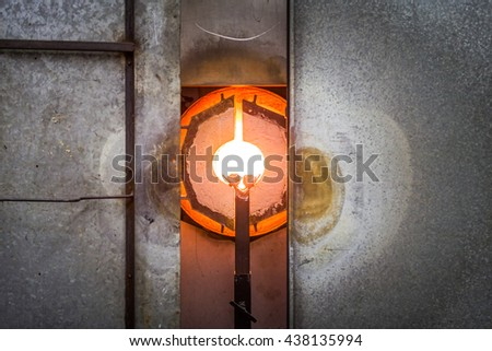 Very Hot and ready Kiln Furnace for Glass Blowing - stock photo